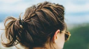 Messy braid meets messy bun hairstyle